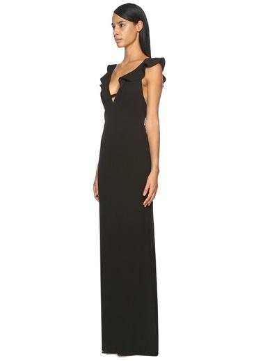 Fırfırlı Uzun Abiye Elbise-Abs